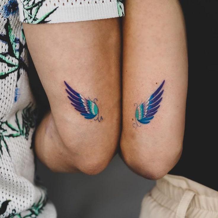 Couple Small colorful Tattoo