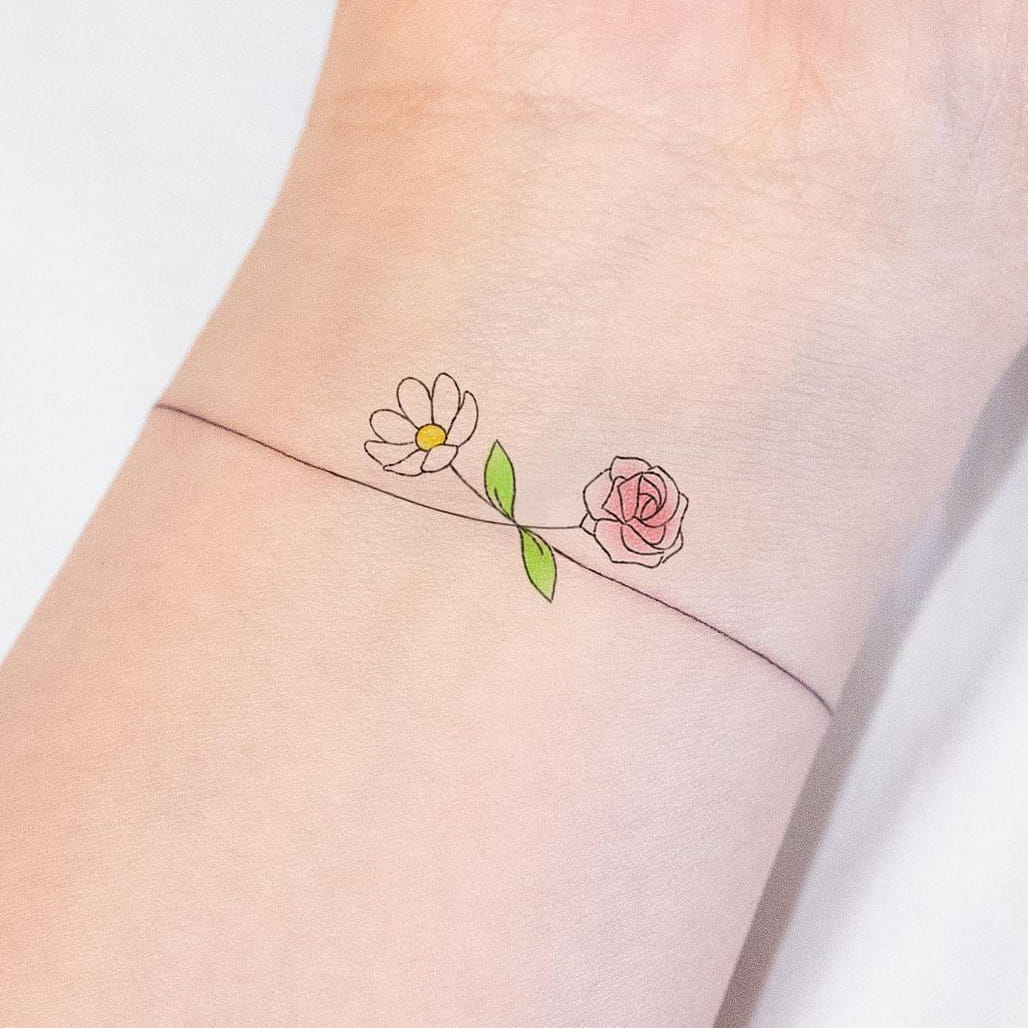 Letter Flower Small colorful Tattoo