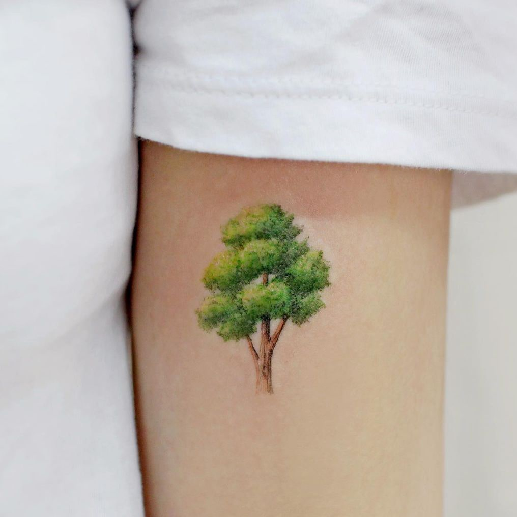 Tree colorful small tattoo