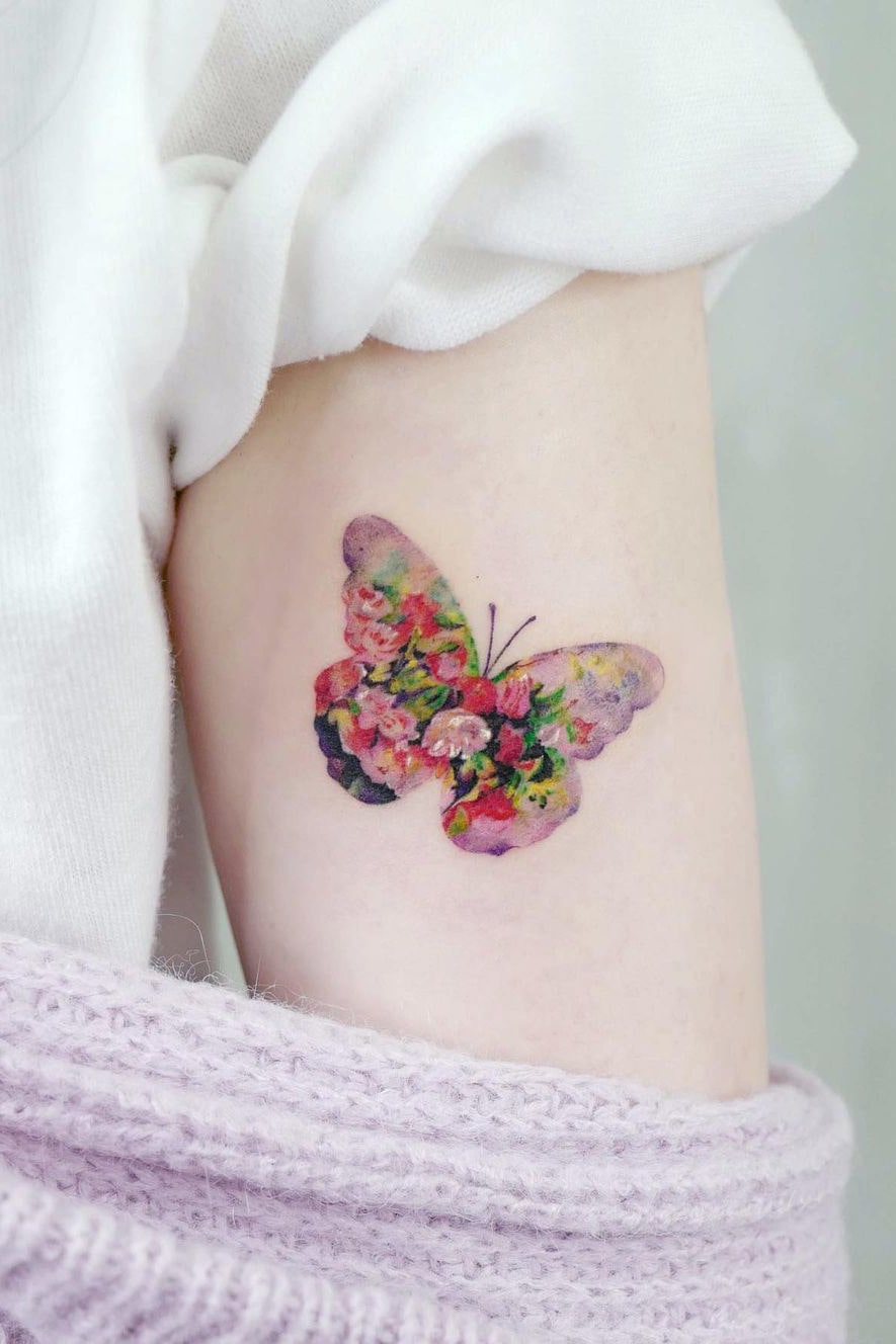 Amazing butterfly small colorful tattoo