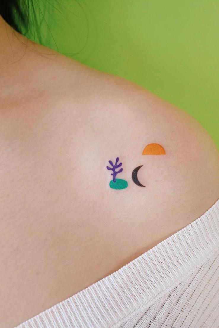 Unique small colorful tattoo