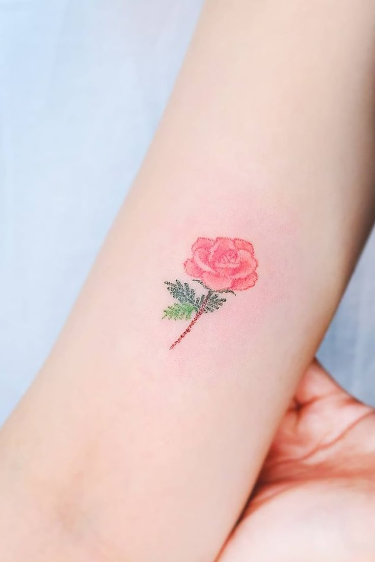 Rose small colorful tattoo