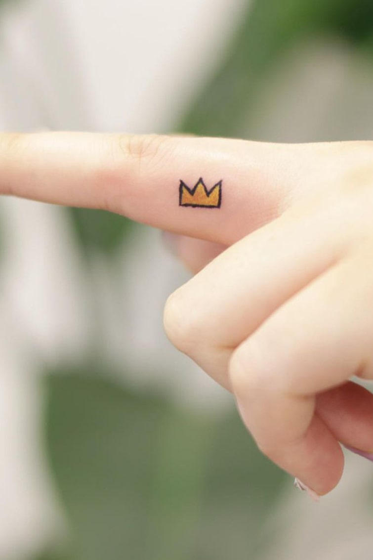 Finger small colorful Tattoo