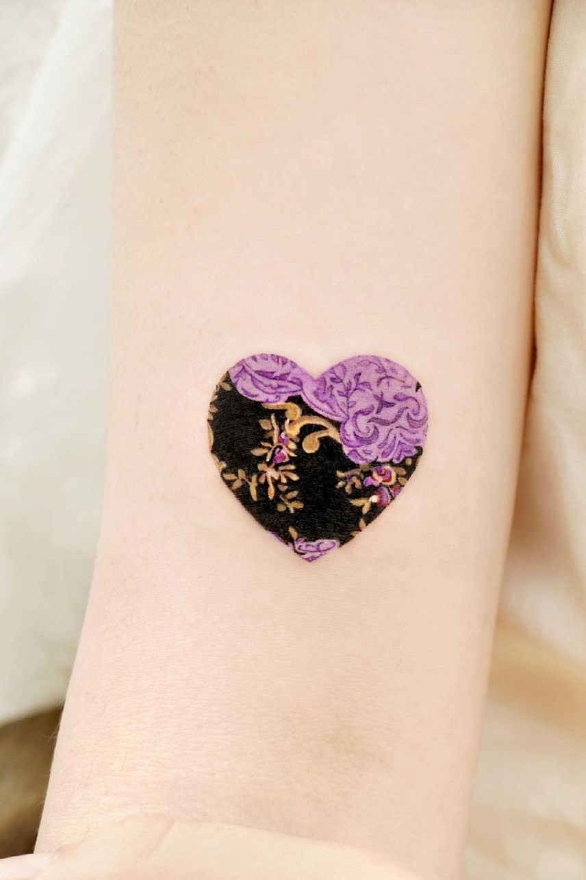 Flower Heart Small colorful Tattoo