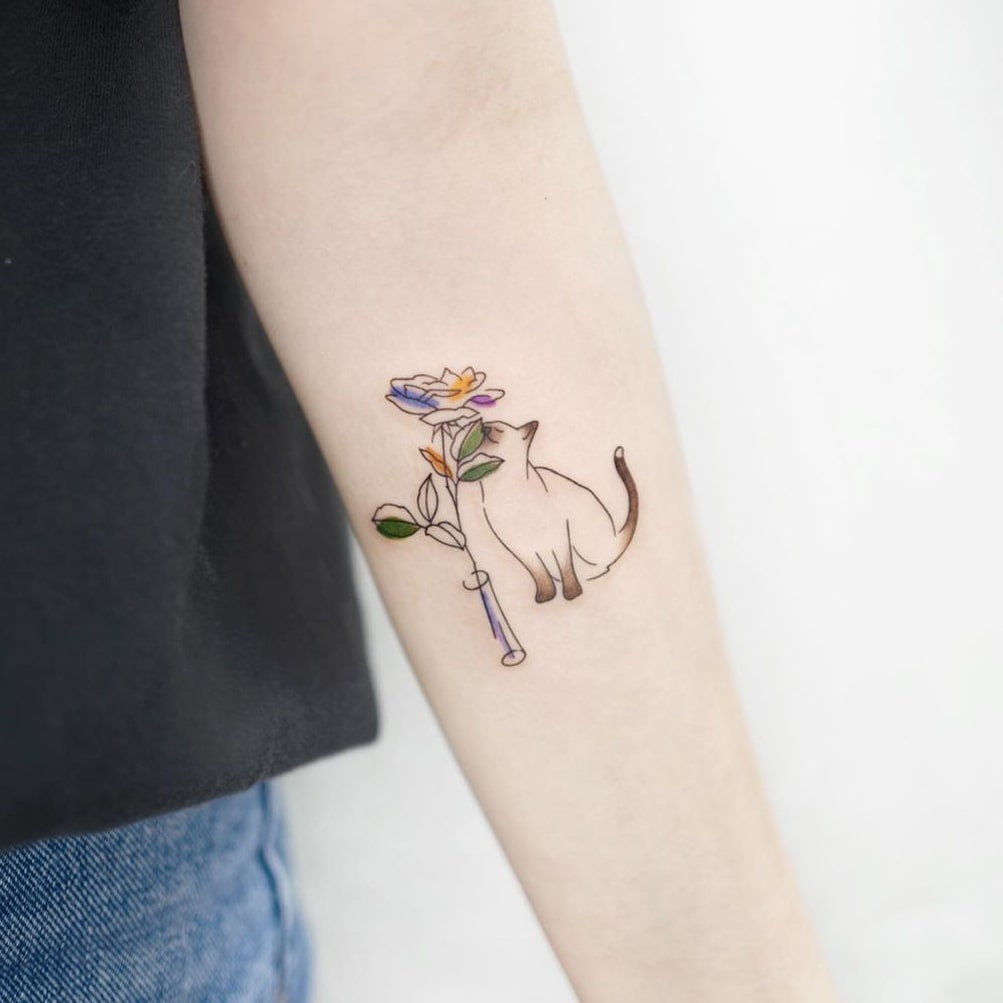 Flower and cat small colorful tattoo