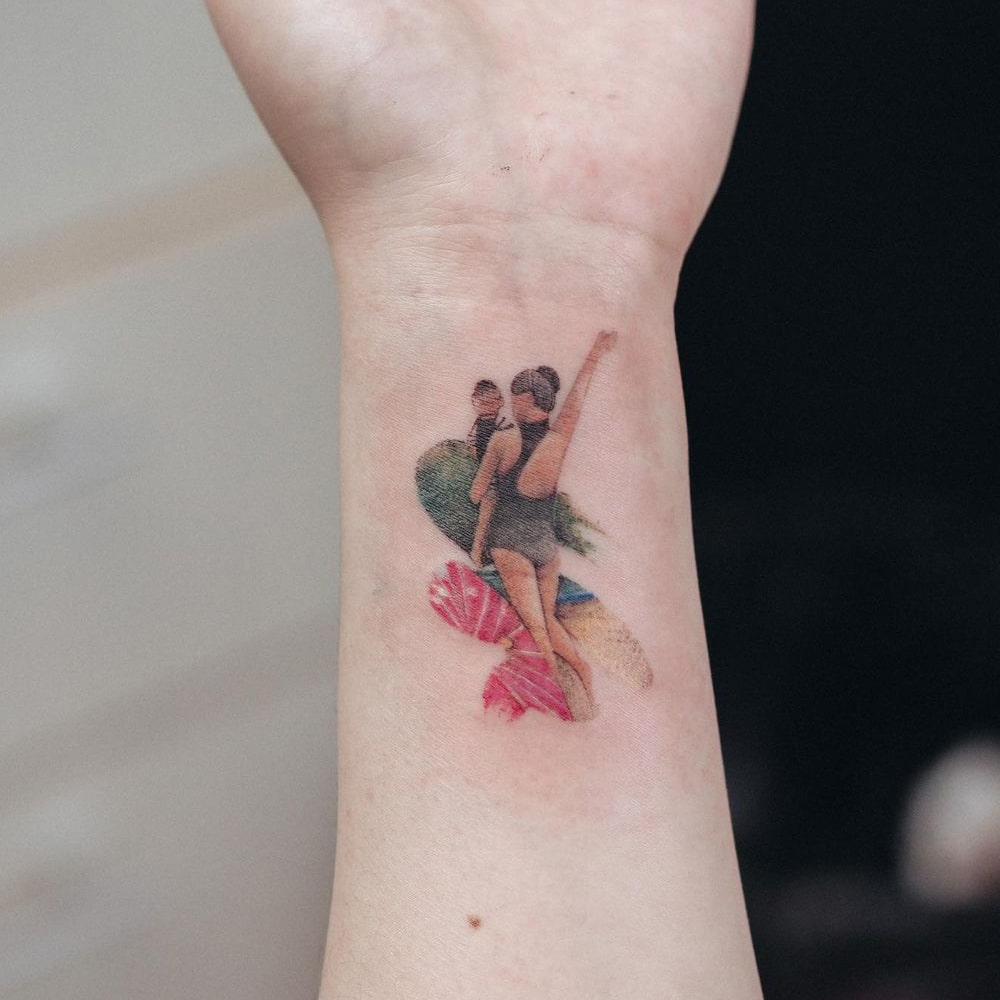 Mom and child small colorful tattoo
