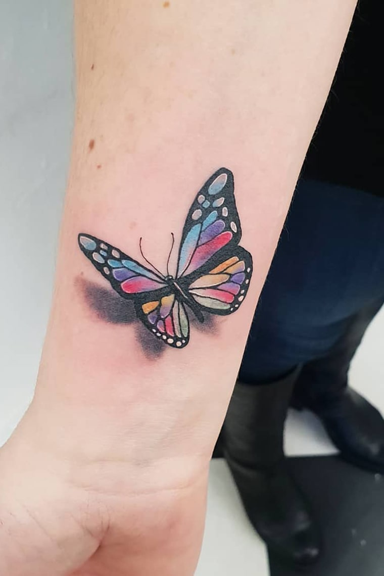 Colorful 3d butterfly tattoo