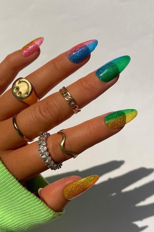 Jelly Rainbow Nails