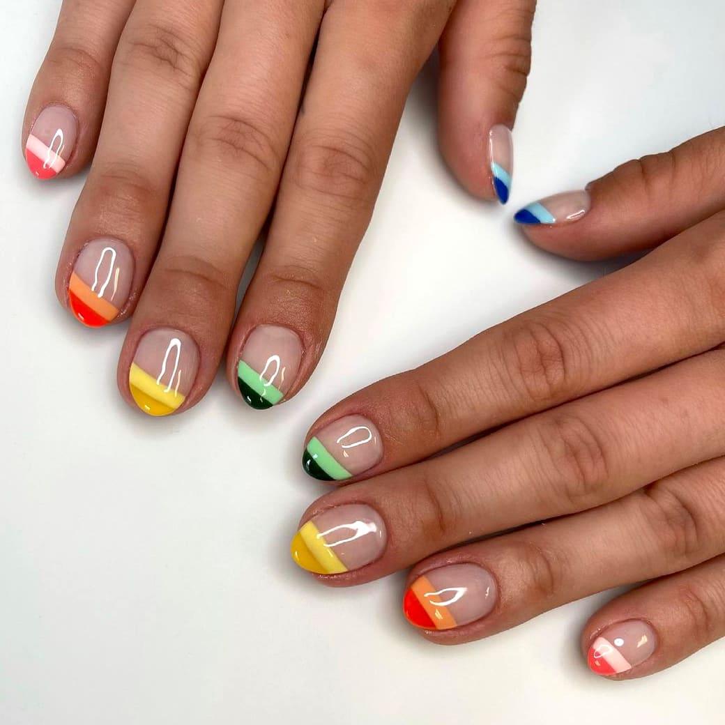 French short rainbow nails