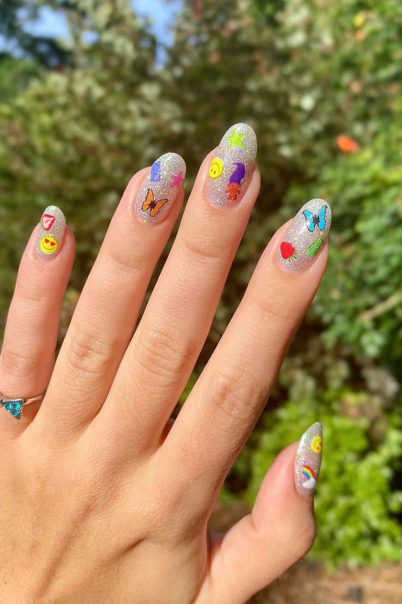 Silver Rainbow Nails