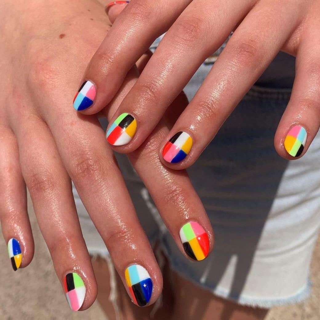 Plaid rainbow nails