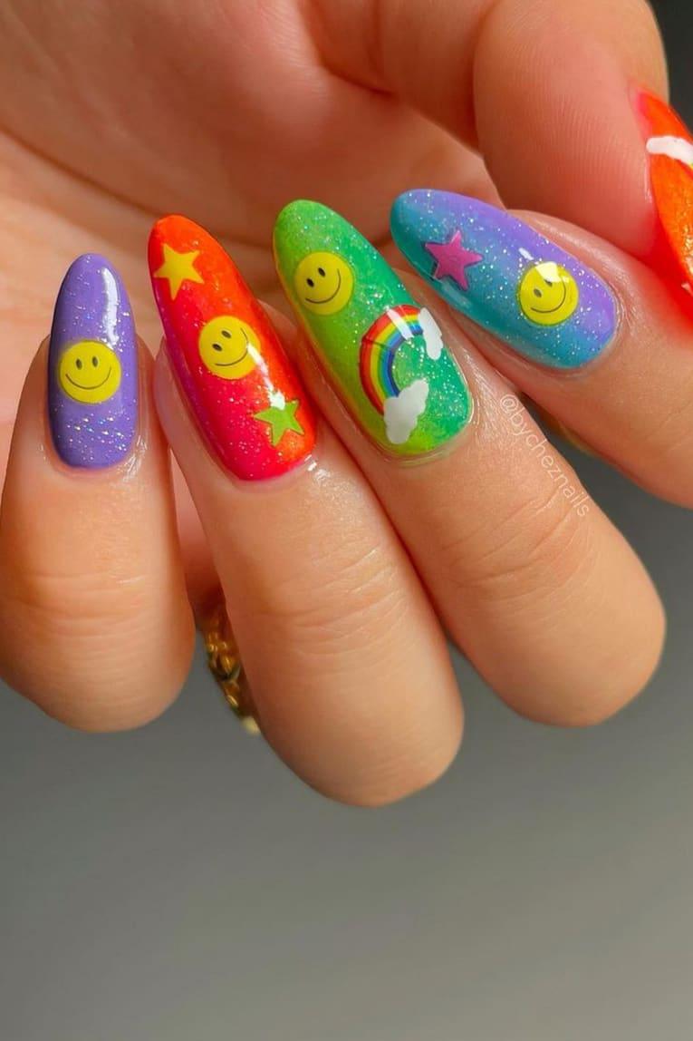 Smiley Rainbow Nails
