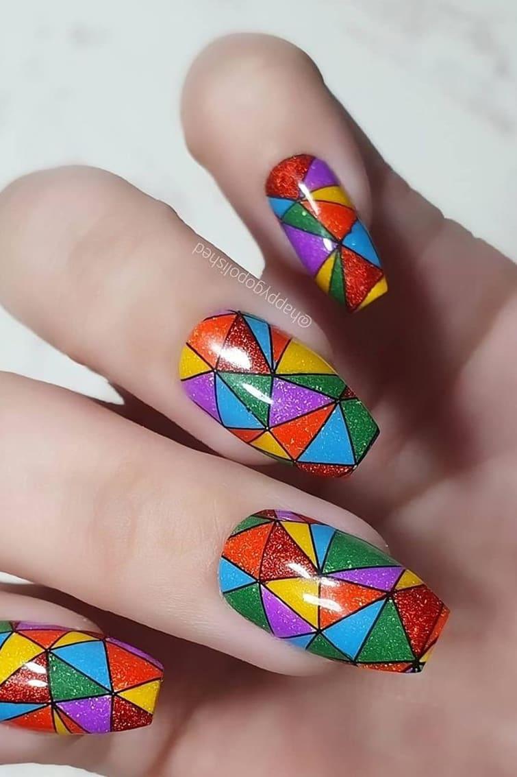 Geometric rainbow nails