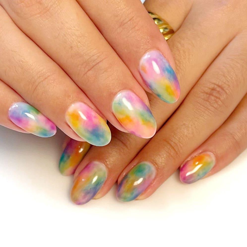 Watercolor rainbow nails