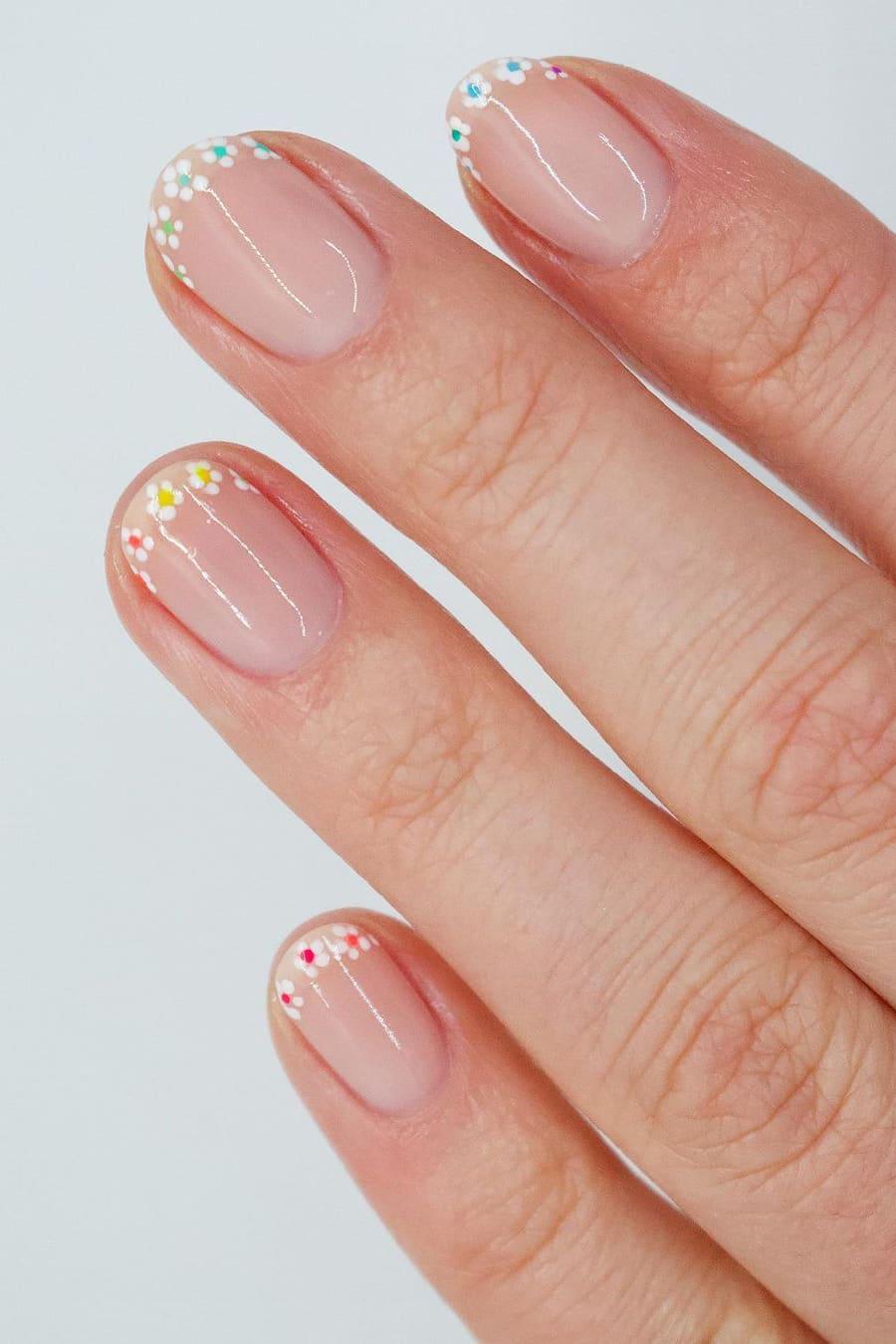 Floral rainbow nails