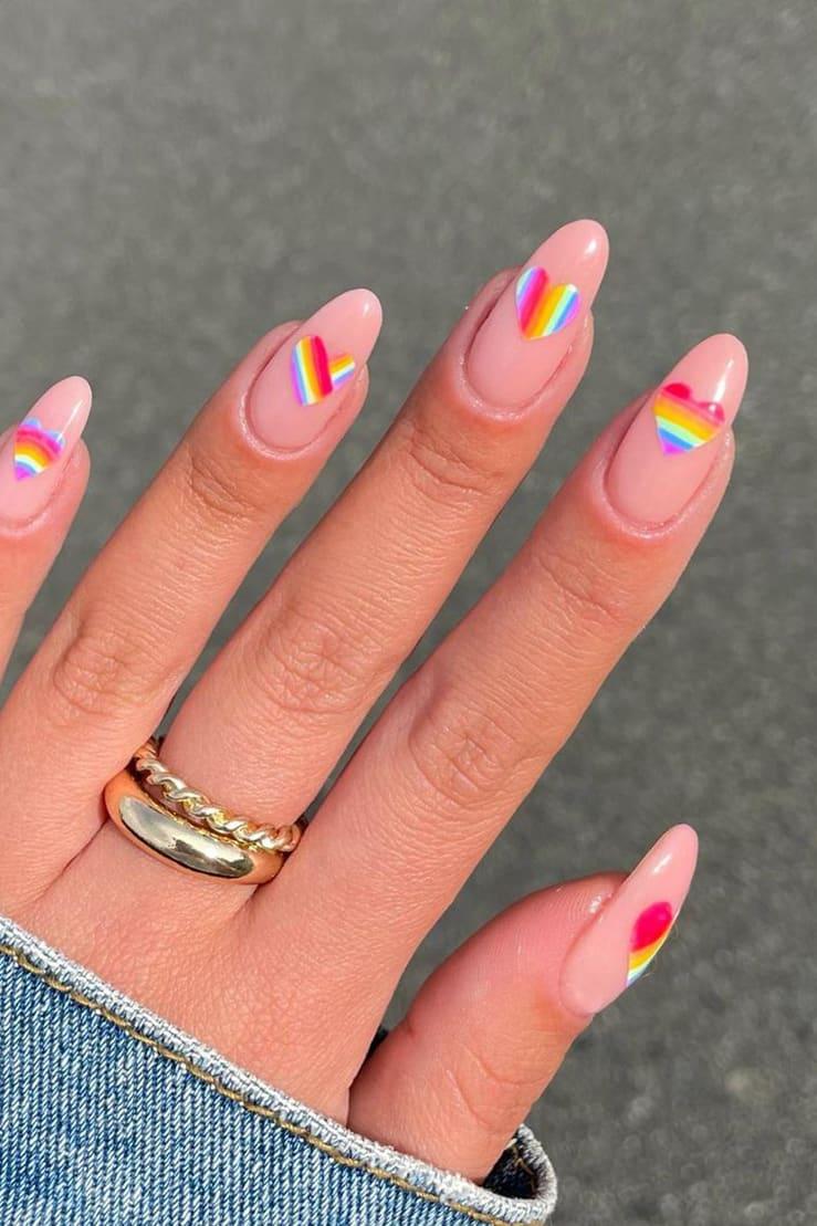 Heart rainbow nails