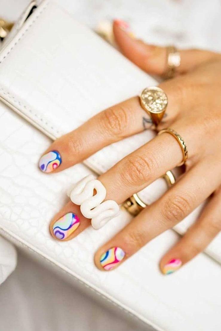 Trendy rainbow nails