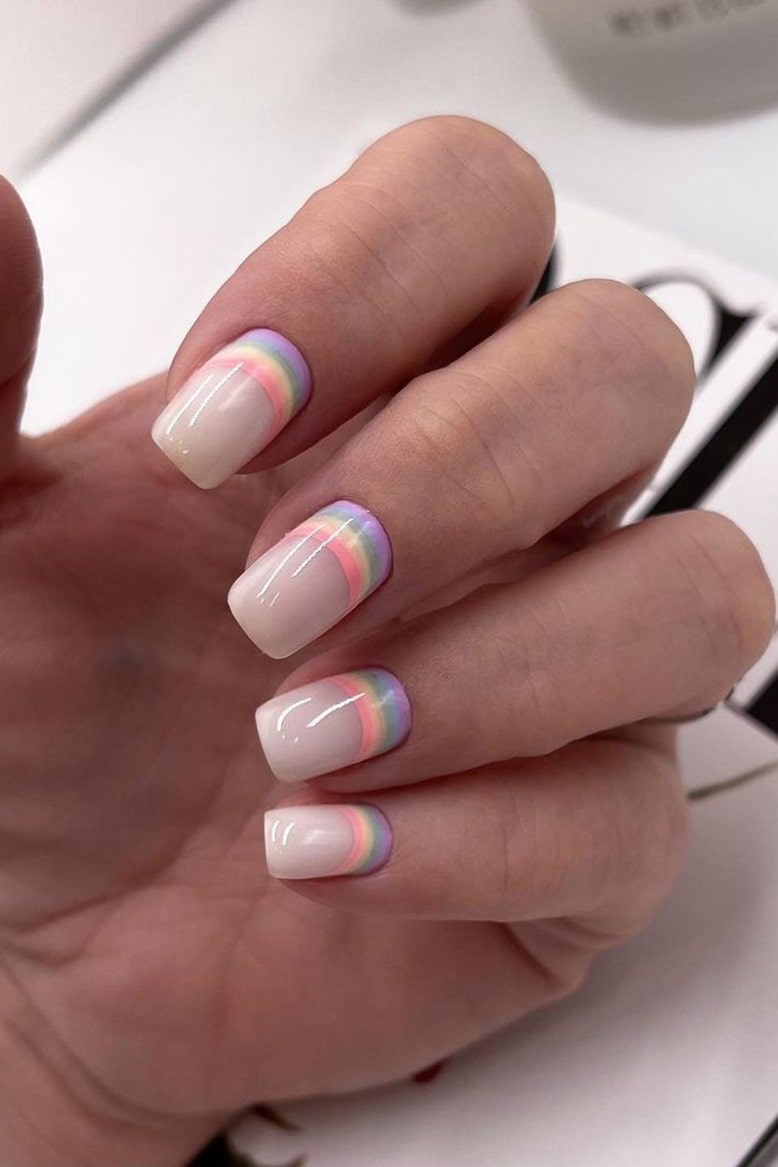 Neutral rainbow nails