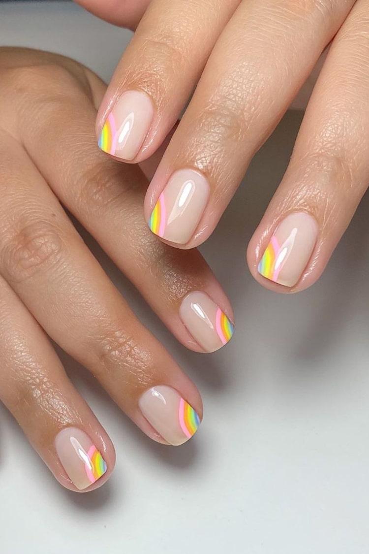 Clear rainbow nails