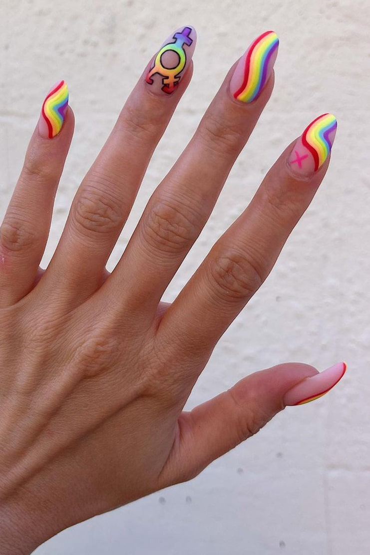 Matte rainbow nails