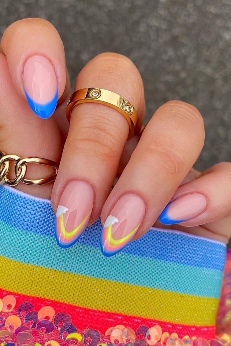 Cloud Rainbow Nails