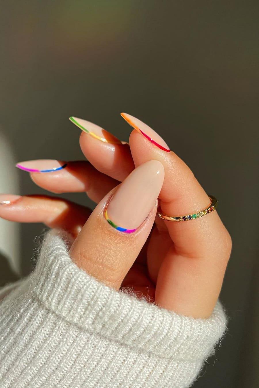 Elegant almond rainbow nails