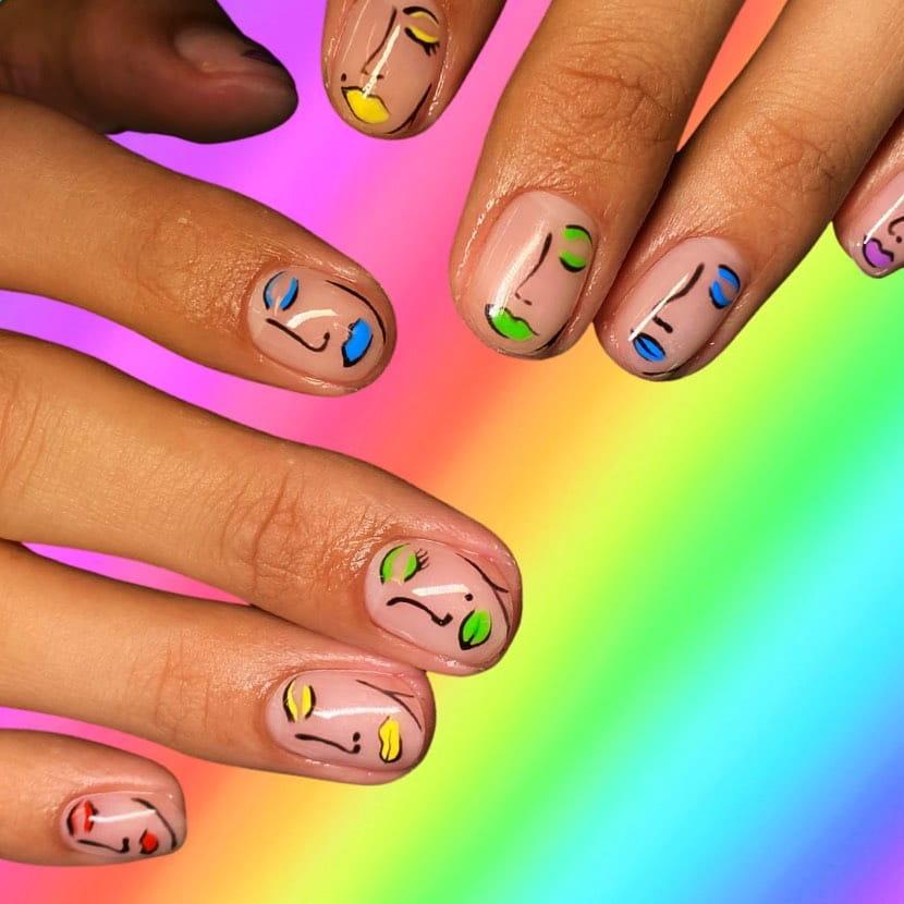 Abstract art rainbow nails