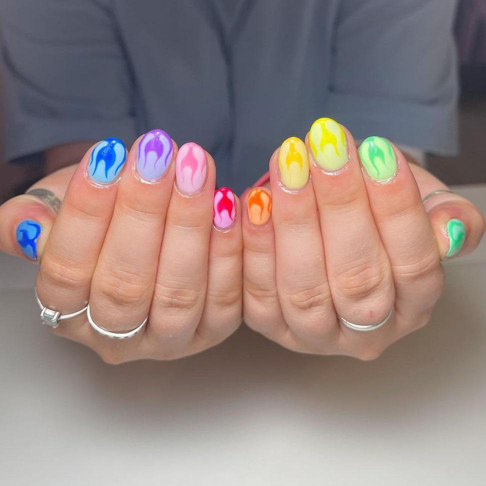 Flame Rainbow Nails