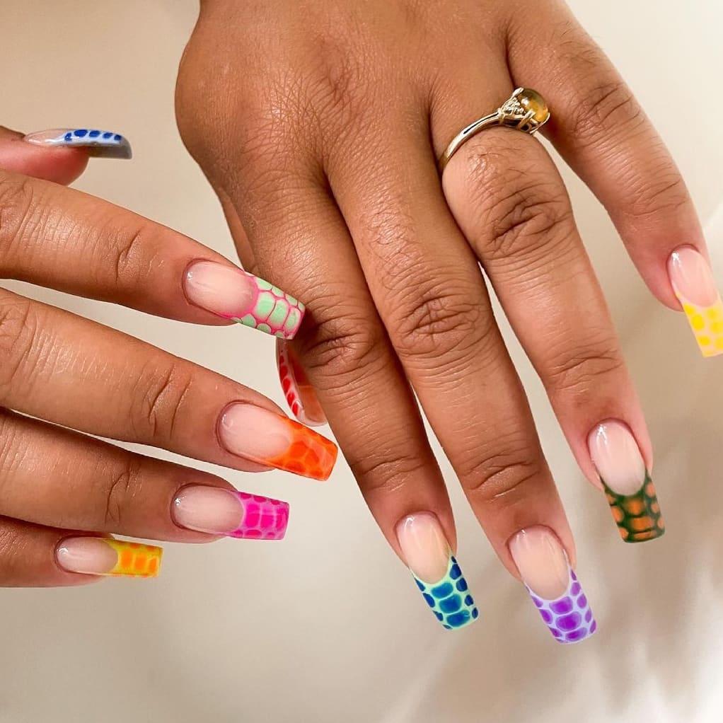 Animal print rainbow nails