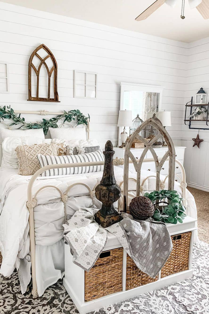White wooden wall decoration