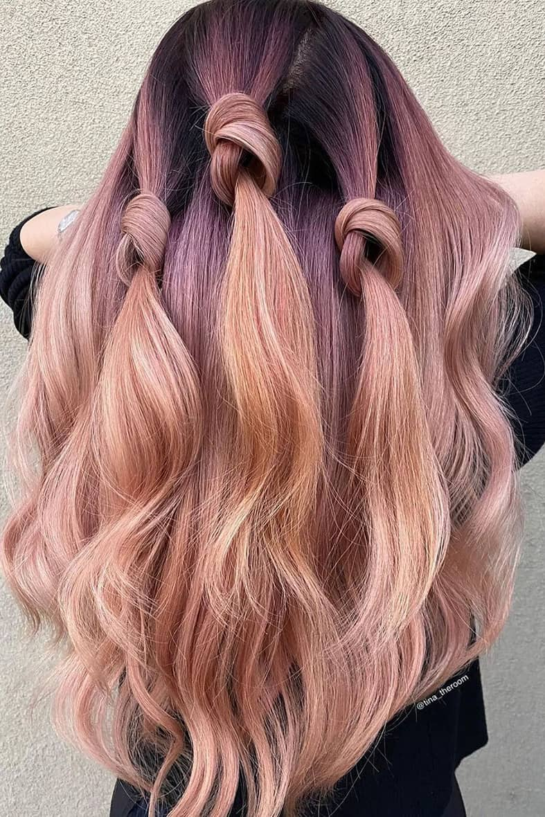 Purple and peach summer hair color