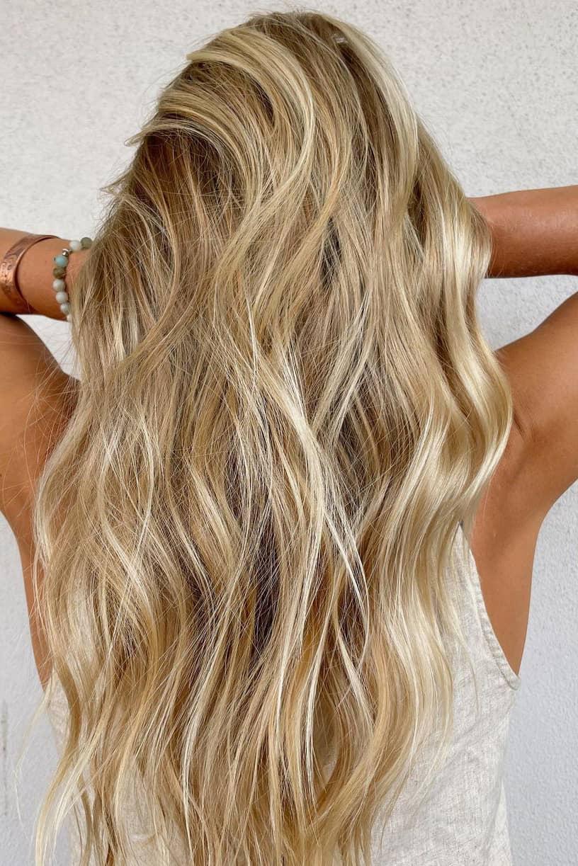 Shiny golden summer hair color