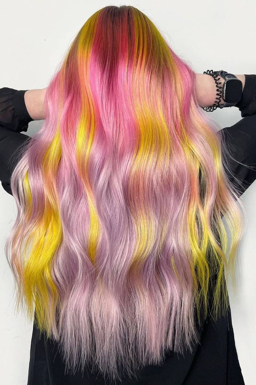 Pink and yellow summer hair color