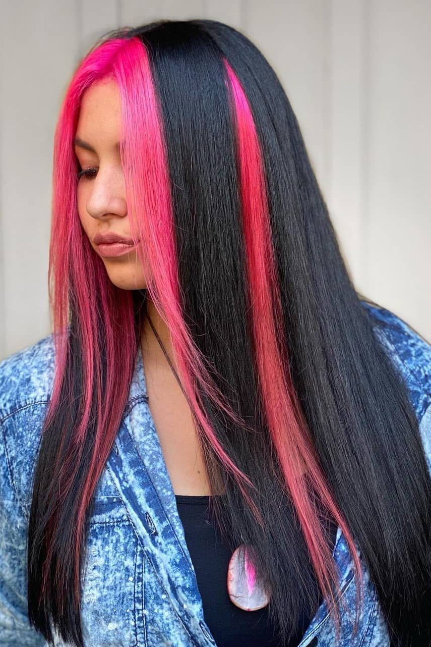 Black and pink summer hair color