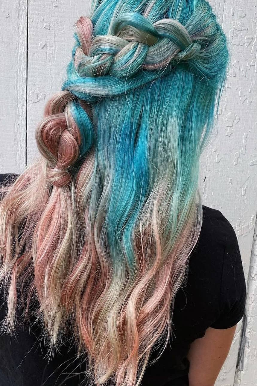 Ice blue and pink summer hair color