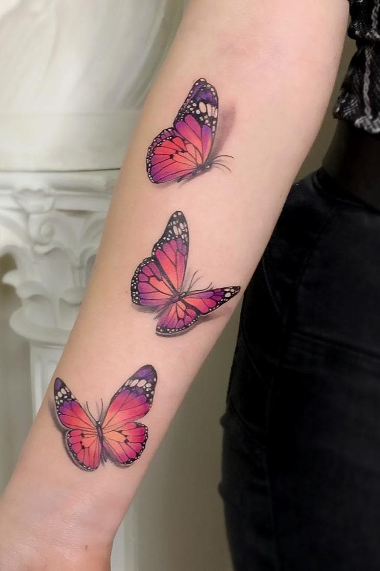 Three 3d butterfly tattoo