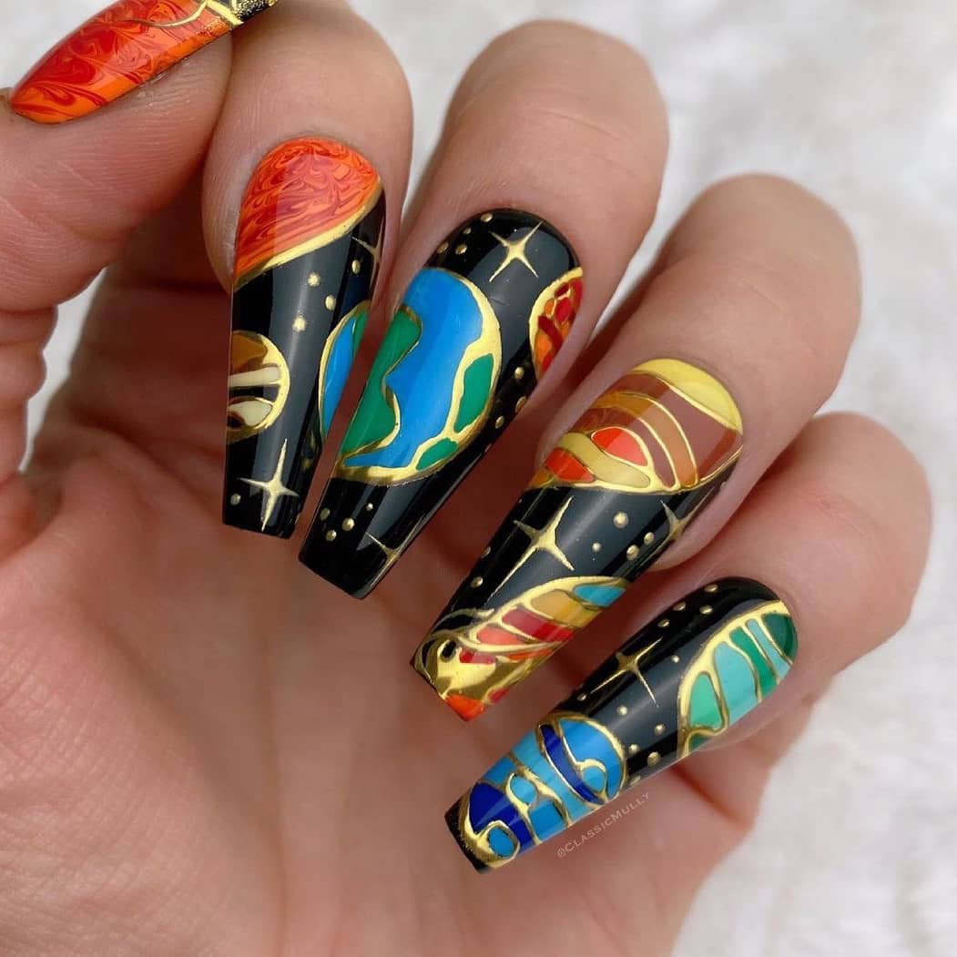Galaxy nails with celestial bodies