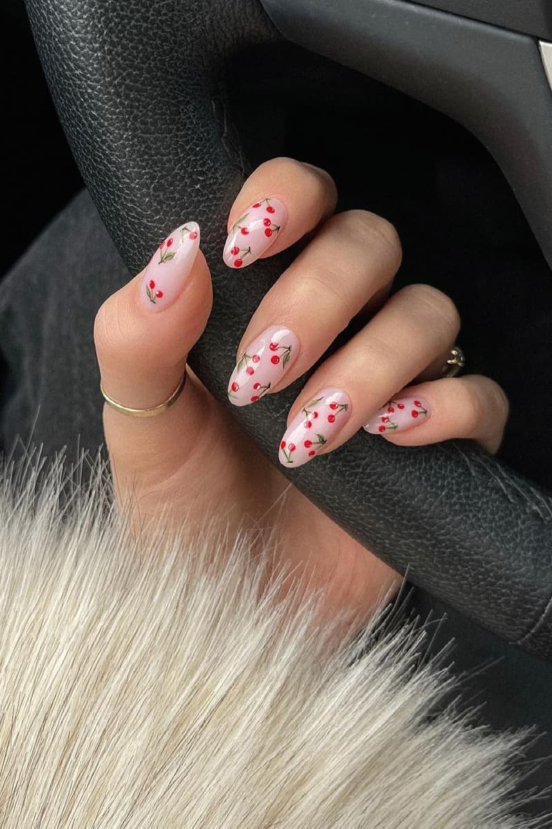 Cherry oval nails