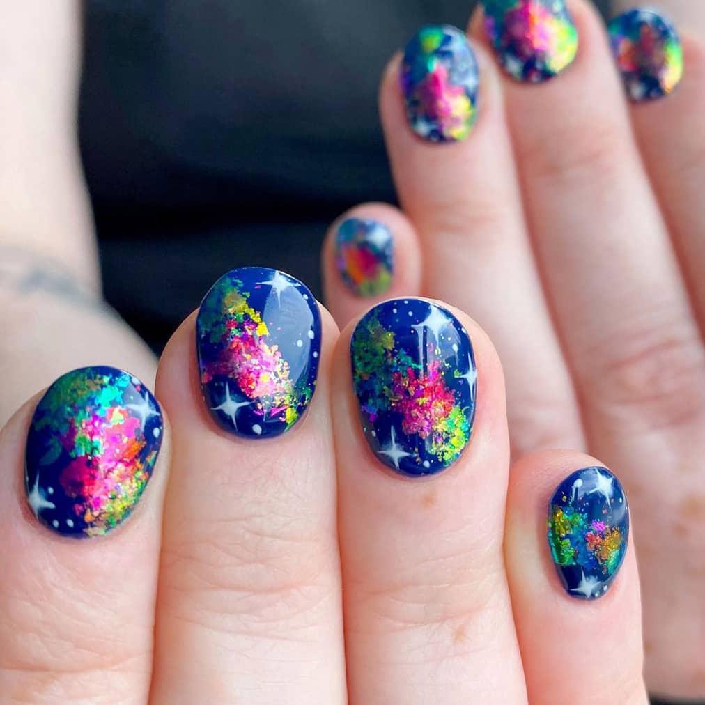 Colorful galaxy nails