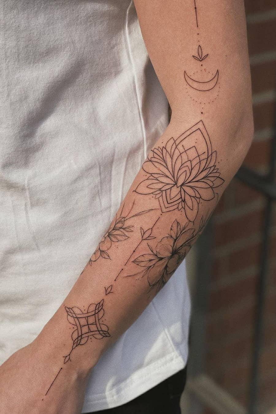 Fine line lotus tattoo