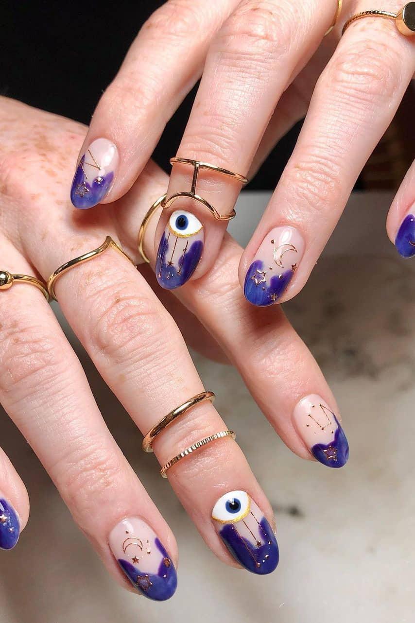 Fun French galaxy nails