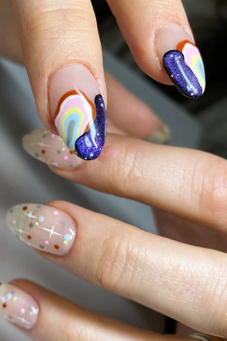 Galaxy theme nail tips