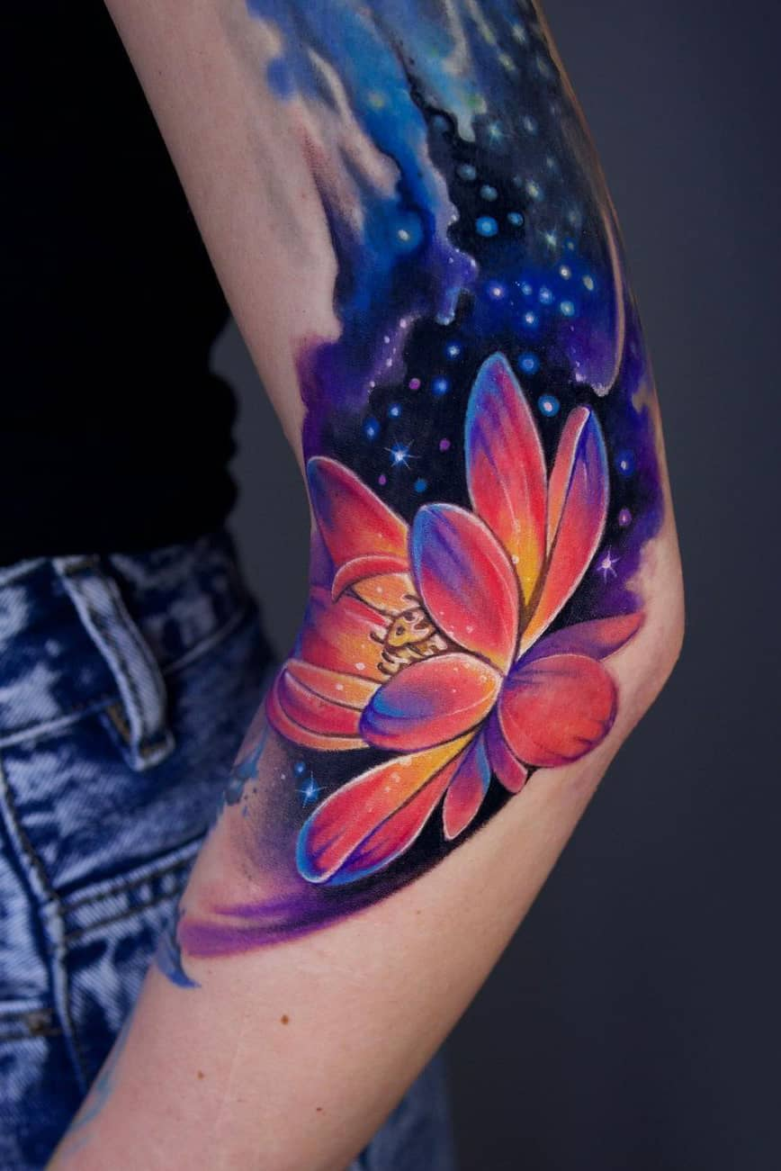 Galaxy lotus tattoo