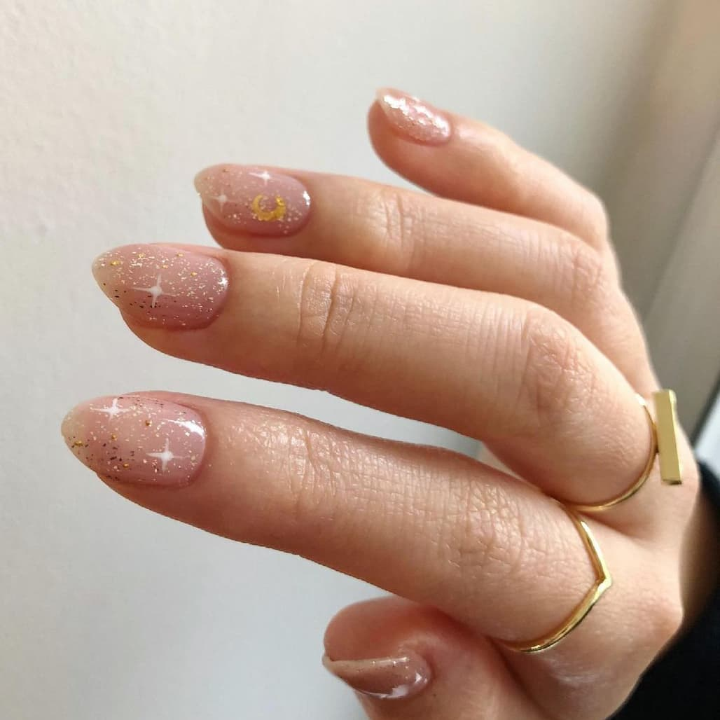 Shining galaxy short nails