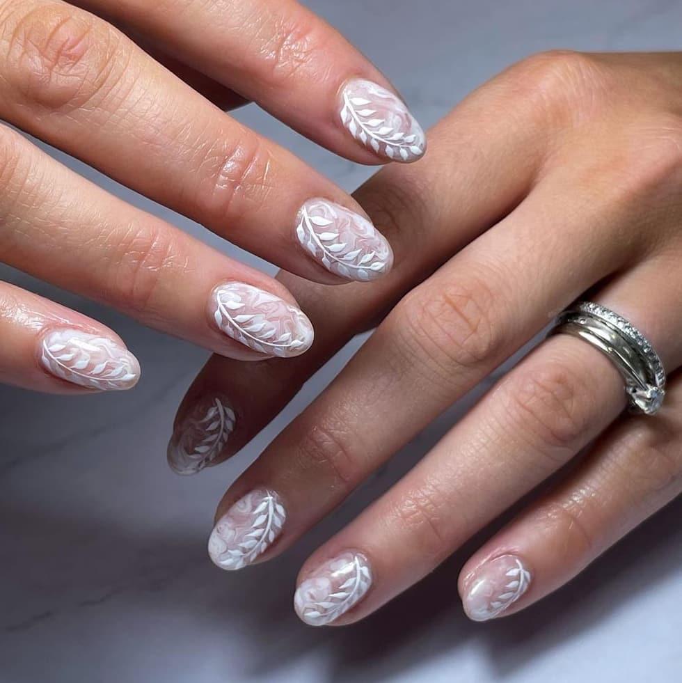Gorgeous ice white oval nails