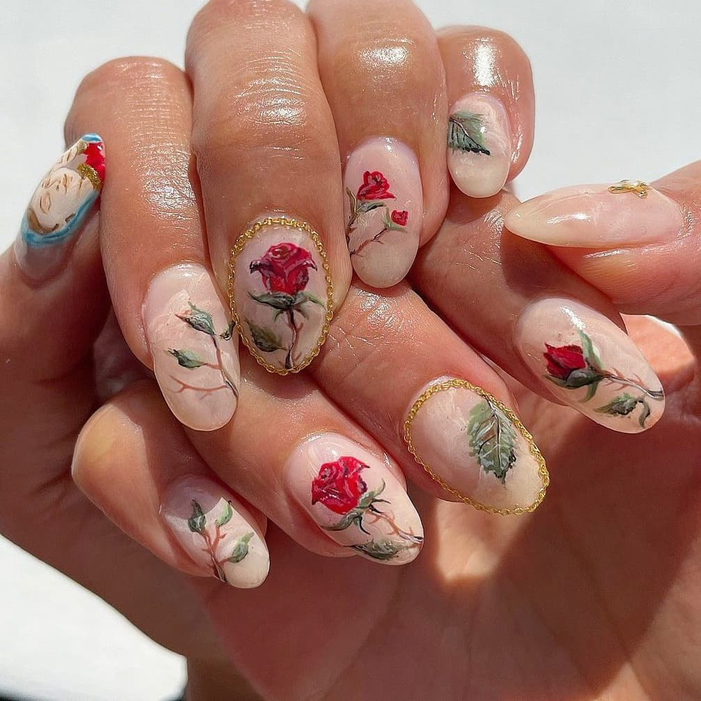 Gorgeous rose nails
