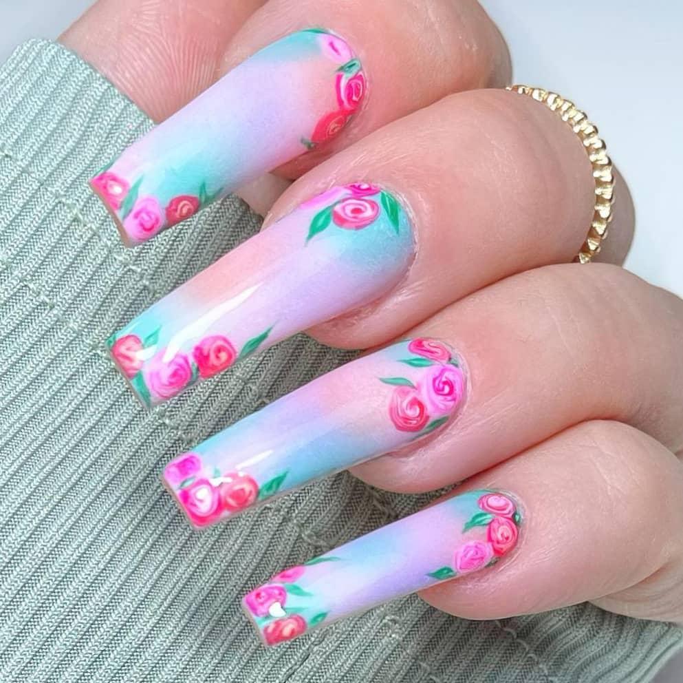 Gradient long rose nails