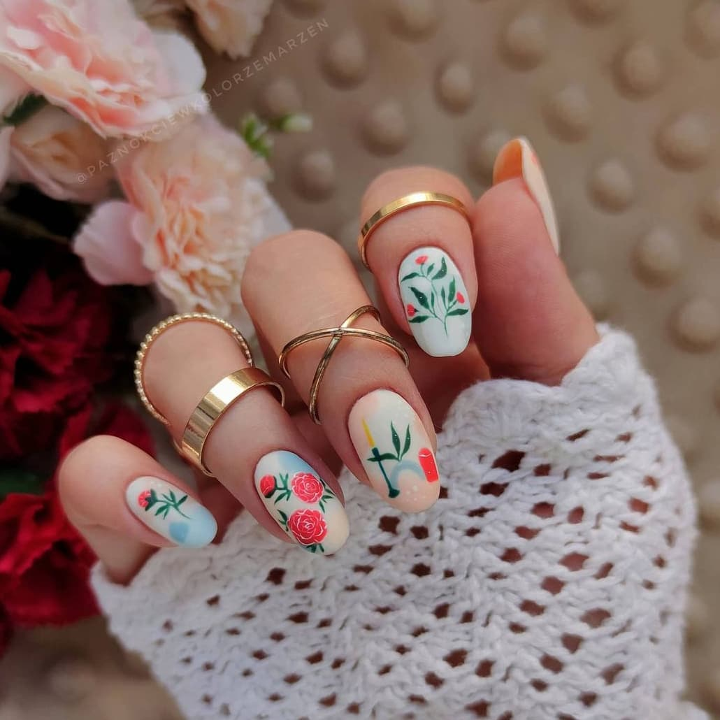 Hand-painted oval flower nails