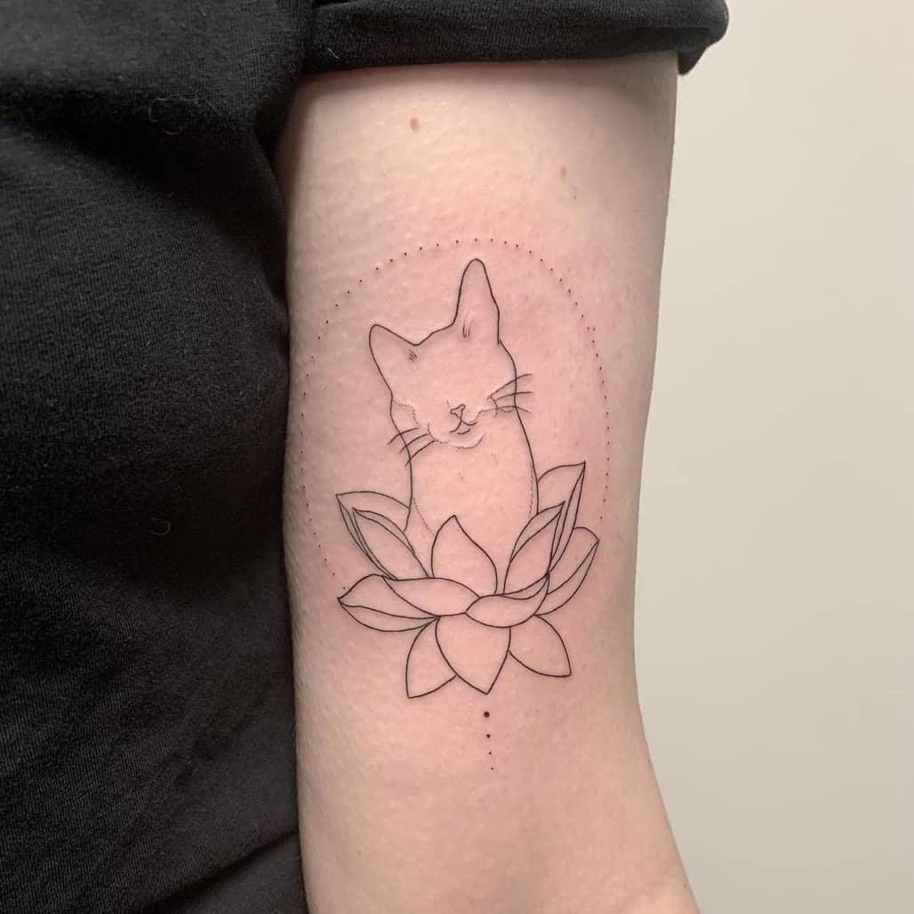 Kitty lotus tattoo