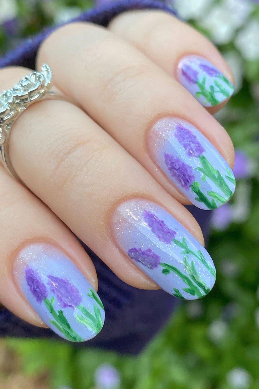 Lavender oval nails